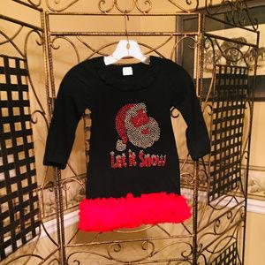 GIRLS CHRISTMAS BLACK RED DRESS